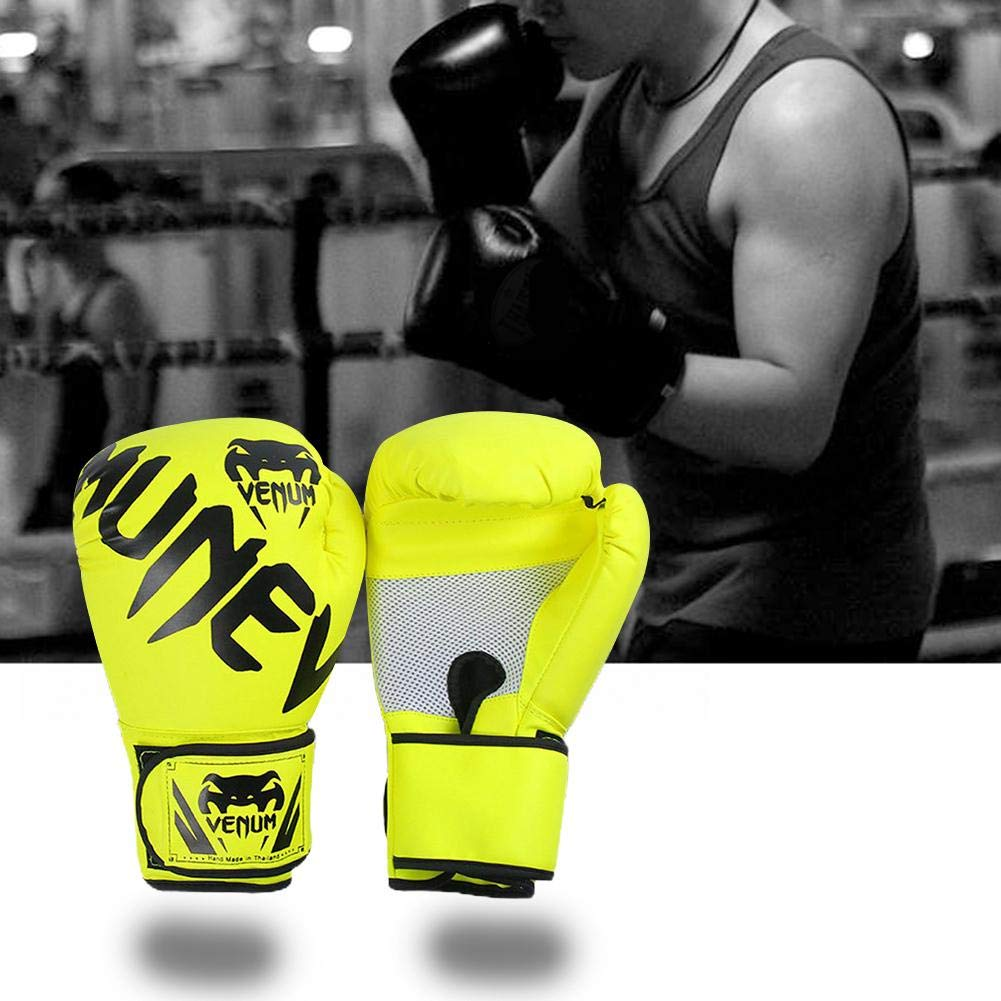Earlyad Unisexe Gants de Boxe en Cuir Sac de Boxe Sparring Mitaines pour Combat de Kick Boxing