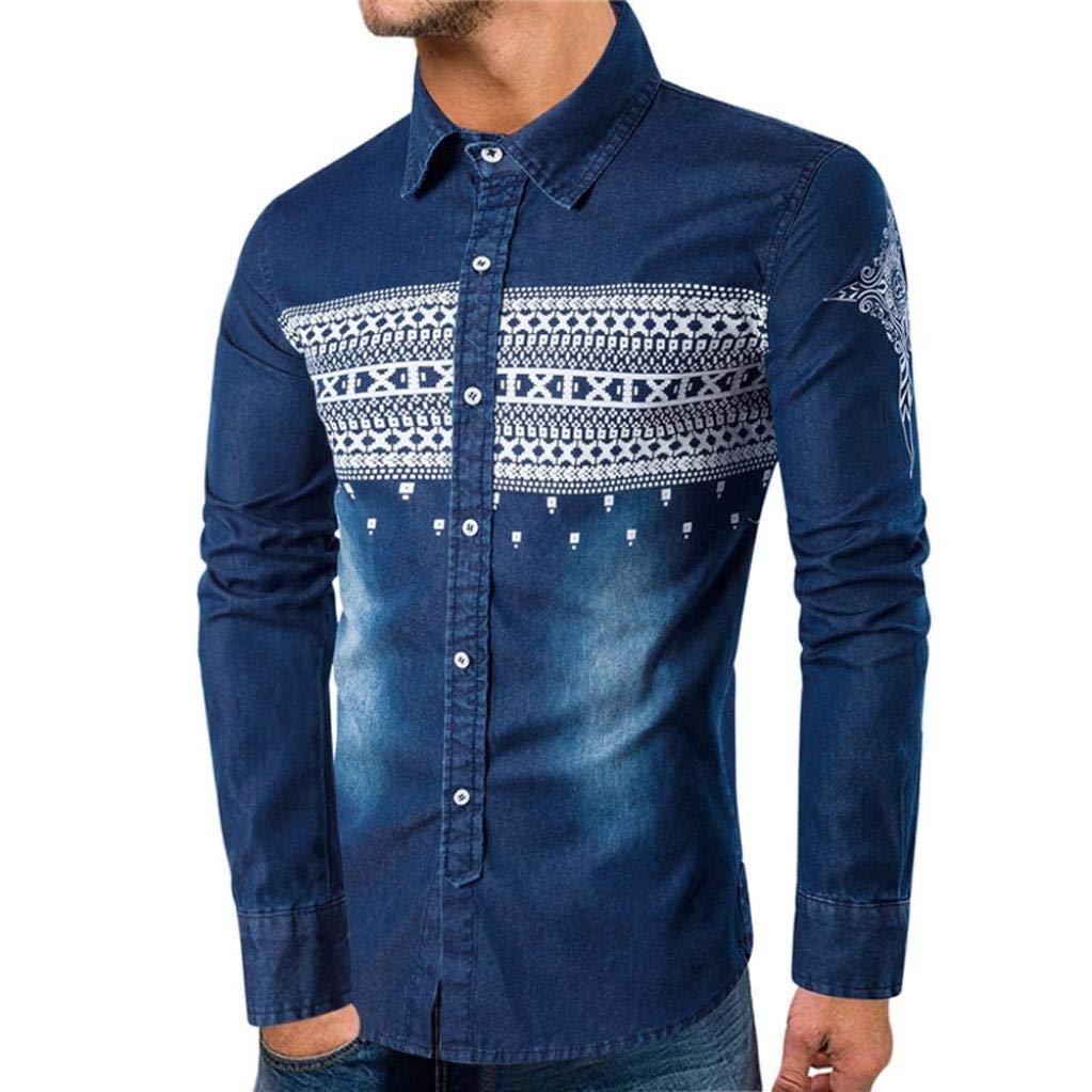 Camisetas Hombre Manga Camisas Corta Sudaderas con Capucha Personalidad OtoñO Camisa Mezclilla Impresa Delgada Ocasional Blusa