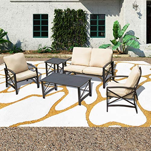 PatioFestival 5 PCS Outdoor Padded Conversation Set w/Loveseat,2 Chairs,Coffee Table,Side Table,Patio Metal Extra Wide Deep Seating Sofa Chairs 5 PCS