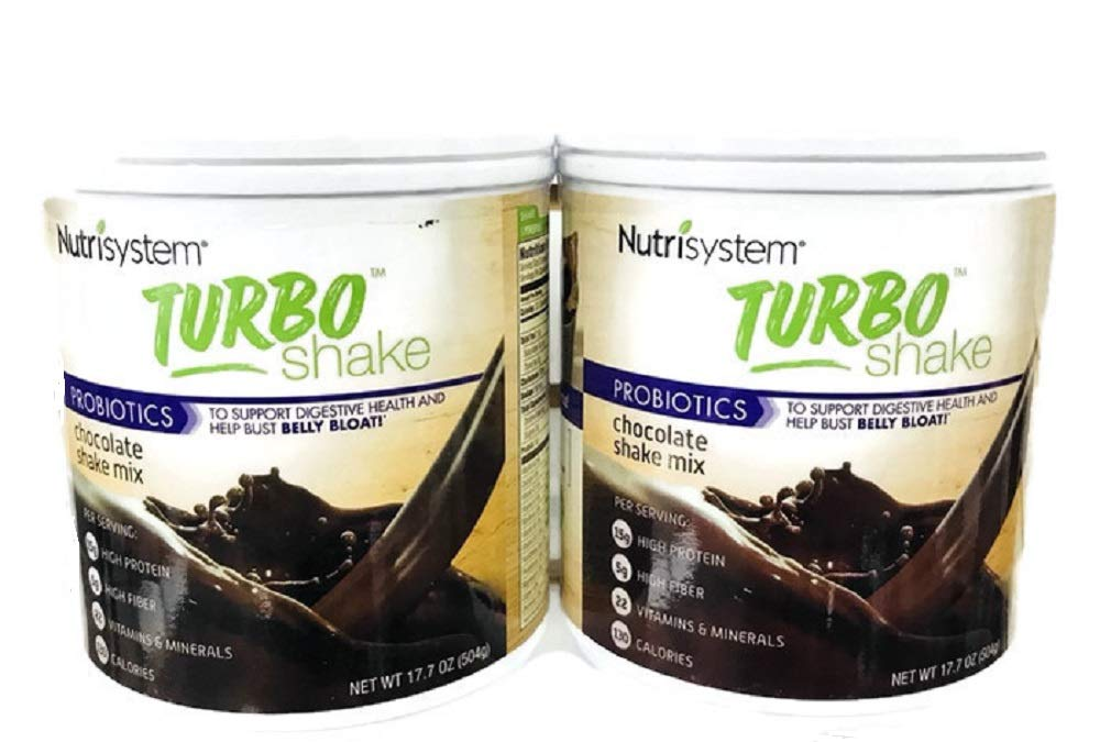 NUTRISYSTEM TURBO SHAKE CHOCOLATE SHAKE MIX 17.2 oz ~ (2) 14 Servings - ONE MONTH SUPPLY (Protein + Probiotics)