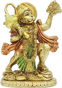 alikiki Hindu God Lord Flying-Hanuman Statue - India Idol Murti Pooja Sculpture - Indian Gold Finish Figurine for Home Temple Mandir Decor