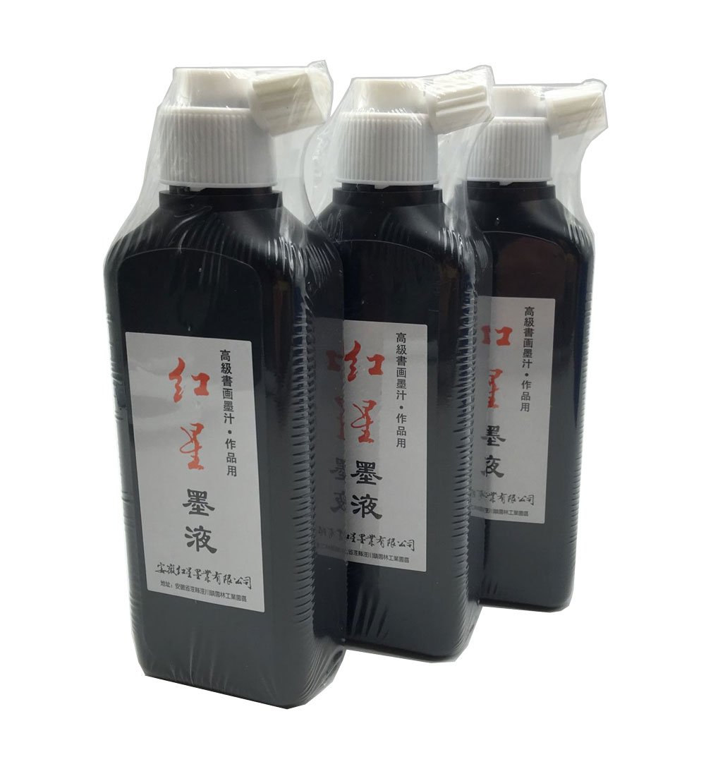 Redstar Liquid Sumi Ink Made from Oil Soot for Traditional Calligraphy and Brush Painting 3pcs/pack