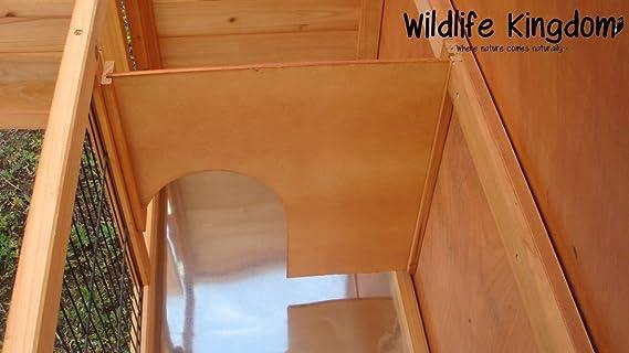 Cobertizo de madera para conejo, con techo de apertura y bandeja extraíble, de Wildlife Kingdom (1001): Amazon.es: Productos para mascotas