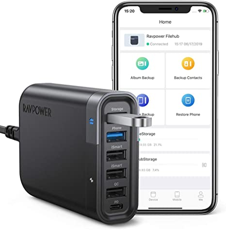 RAVPower USB C Wall Charger 60W 6 Port with Quick Charge 3.0 Backup Function and iSmart Multiple Port 24W Power Delivery Desktop USB Charging Station Filehub for Phone and Tablet