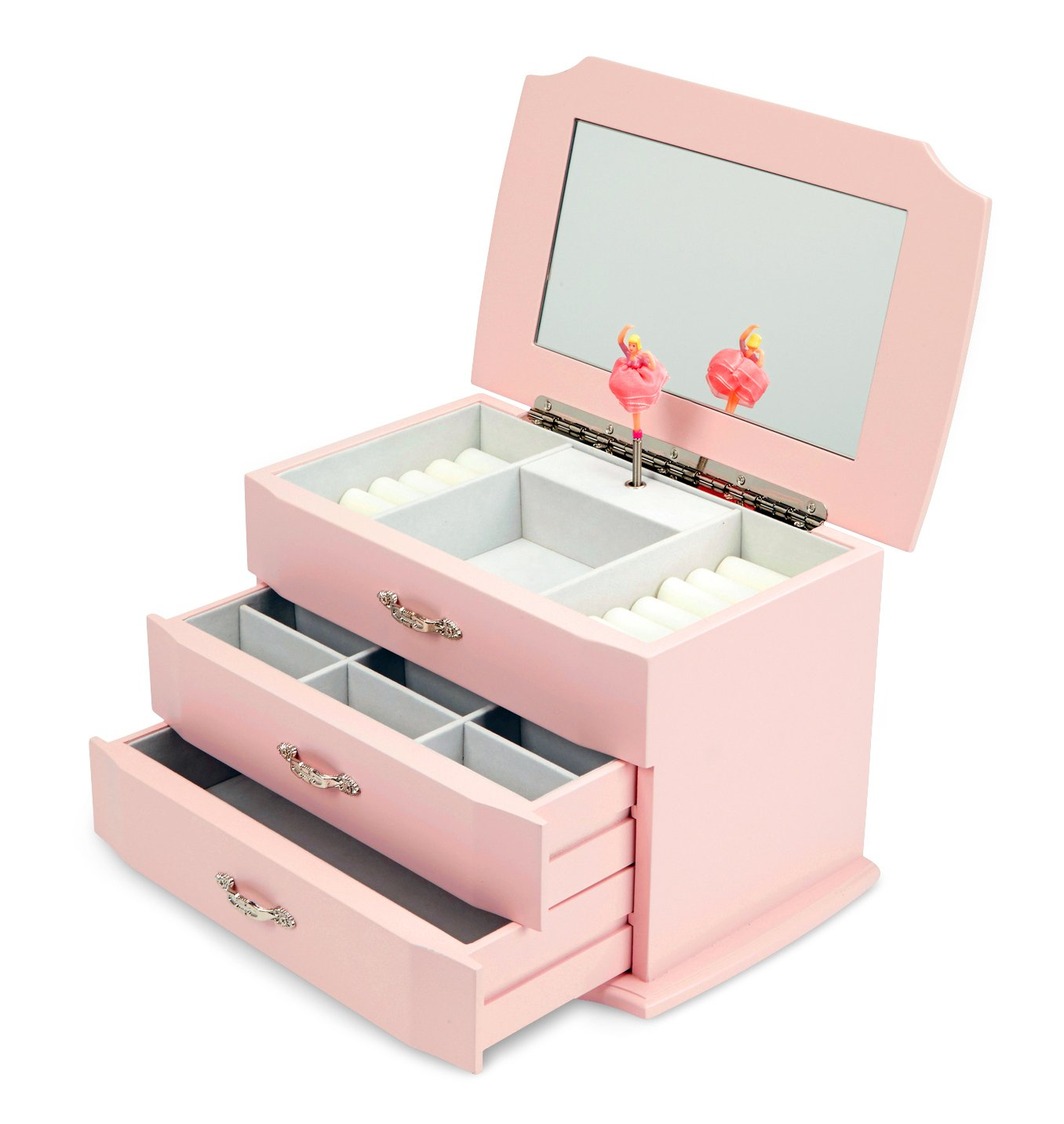 JewelKeeper Girls Wooden Musical Jewelry Box with Pullout Drawers, Classic Design with Ballerina and Mirror, Swan Lake Tune Rose Pink
