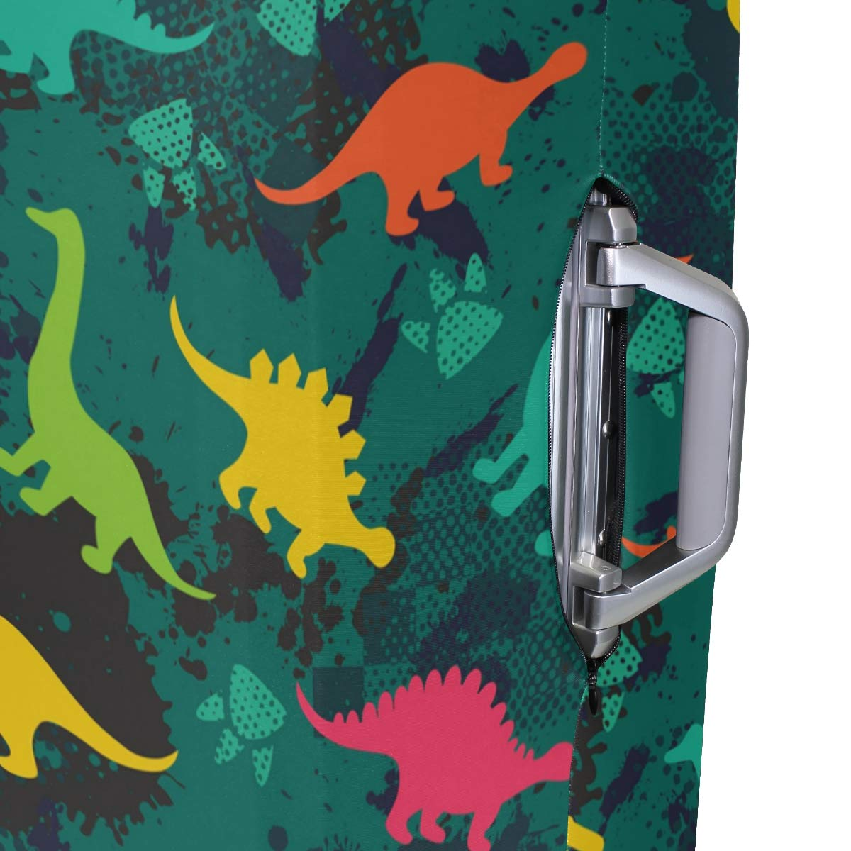 Baggage Covers Colorful Dinosaurs Green Yellow Washable Protective Case