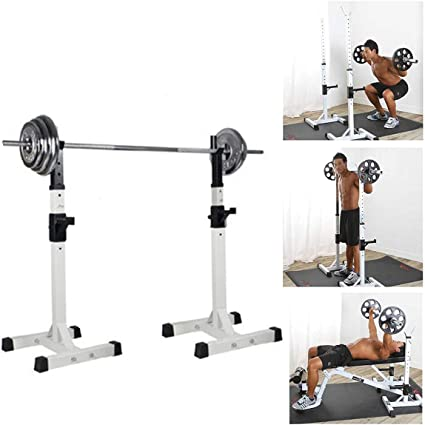 Amazon.com : IWTGR Split Squat Rack Bench Press Multi-Function Barbell Rack Load 400Lbs Adjustable Height Used for Gym/Home Gym Portable Squat Rack Height 37.5''-58.5'' : Sports & Outdoors
