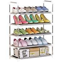 Zapatero de 5 Niveles, Organizador de Zapatos Apilable Portátil de Tubo de Acero Inoxidable para 18 Pares de Zapatos Estantería para Zapatos Libros Macetas Juguetes (60 x 30 x 80 CM)