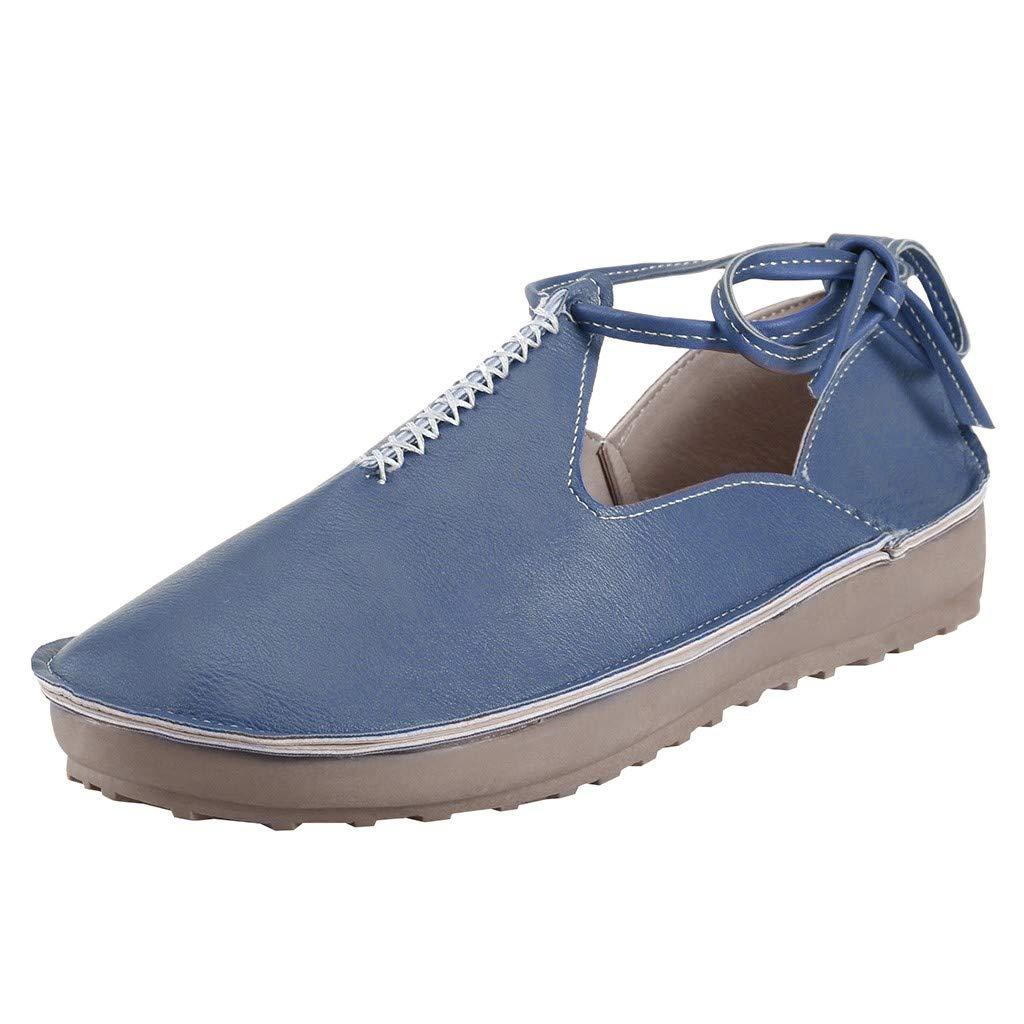 Malbaba Mocasines, Confort Suela Suela de Tobillo Botas de Encaje Casual Slip On Punta estrecha Zapatos Zapatos Blue by Malbaba