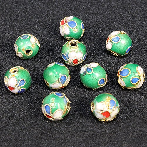 TIDOO Jewelry 10PCS 6mm Round Cloisonne Beads Wiry Enamel for DIY Jewelry Making Accessories (8# Green)