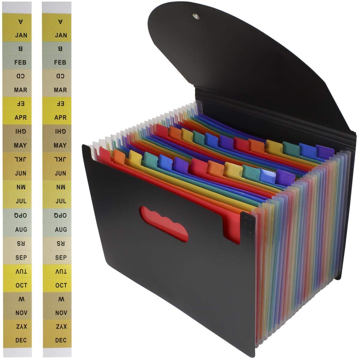 25 Bolsillos Negro iGadgitz Home U7105 Carpeta Clasificadora Expansible A4 Archivador Acordeon