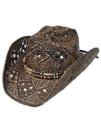 Modestone Unisex Straw Cowboy Hat Brown Dark Brown