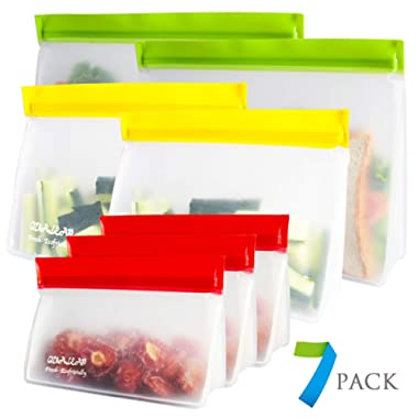 Stand-Up Reusable Sandwich Bags (Set of 7) - Reusable Snack Bags For Kids Premium Reusable Food Storage Bags for Women Reusable Ziplock Bags Keeps Food Fresh Lunch Baggies Are Freezer Safe