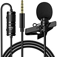 YOTTO Micrófono de Solapa Lavalier 3.5mm Omnidirectional Condensador Micrófono 6.5M de Video Audio para Cámaras, Móviles…