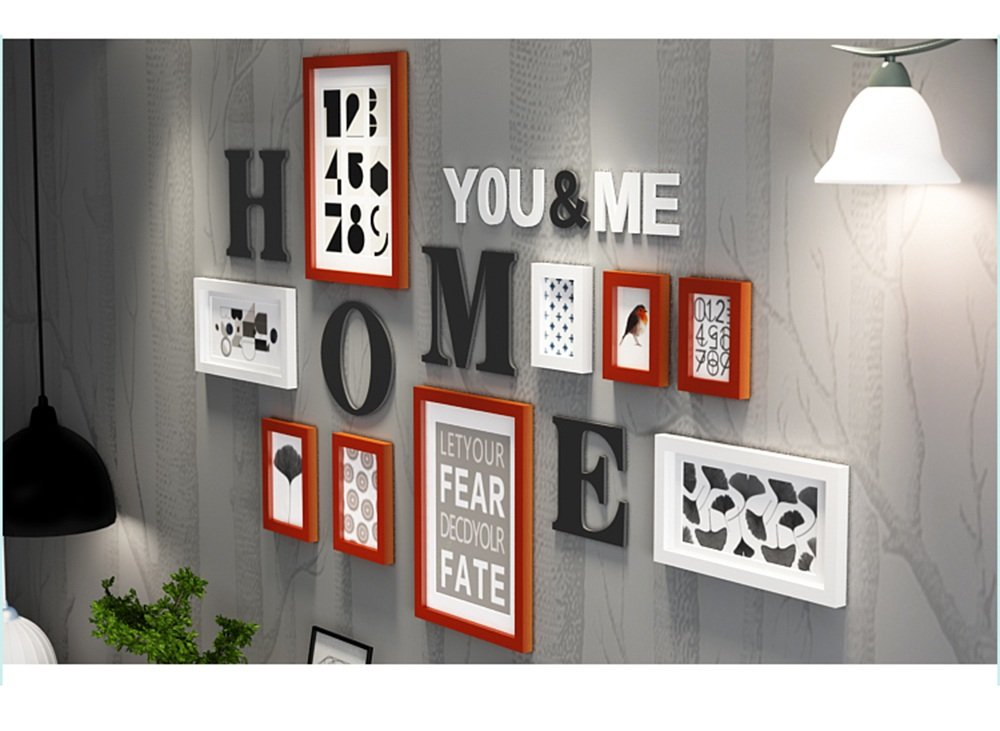 Farbe : #A 94 cm 165 Everyday Home 9 Multi Bilderrahmen Set Schwarz Wei/ß RotbraunWooden DIY Foto Bilderrahmen Kombinations Treppen Malerei