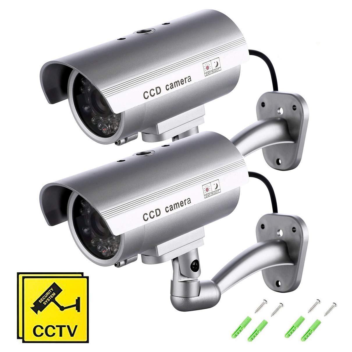 SeeKool Cámara Falsa,2Pcs Dummy Cámara de Seguridad,Cámara Simulada Falsa Inalámbrico Sistema de Vigilancia IR LED Parpadeante Fake Cámara Simulada CCTV product image