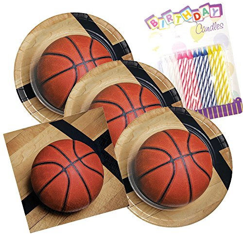 (JJ Party Supplies Sports Fanatic Basketball Theme Plates and Napkins Serves 16 With Birthday)