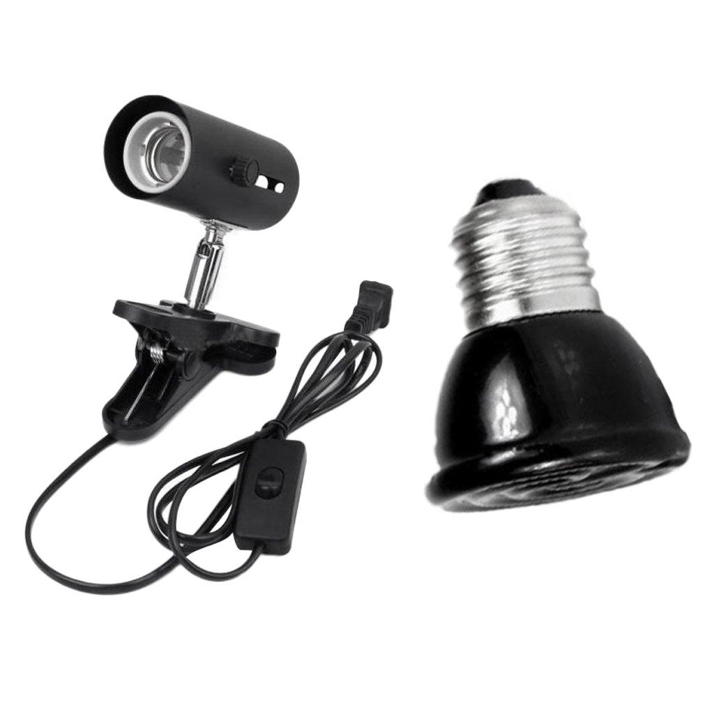 Gazechimp NW-02 Support Base de Lampe Lumière Reptile avec Pince Douille de Lampe Chaleur en Céramique+E27 Mini-Ampoule Chauffant Eleveuse Infrarouge Thermique Céramique Lampe Reptile