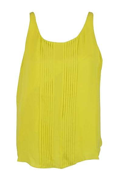 474beee446d4b Tangerine Womens Green Sheen Sleeveless Pintuck Sleeveless Silk Top ...