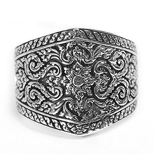 Epinki 925 Sterling Silver Punk Rock Vintage Gothic Carved Flower Ring for Men Size 9.5 by Epinki