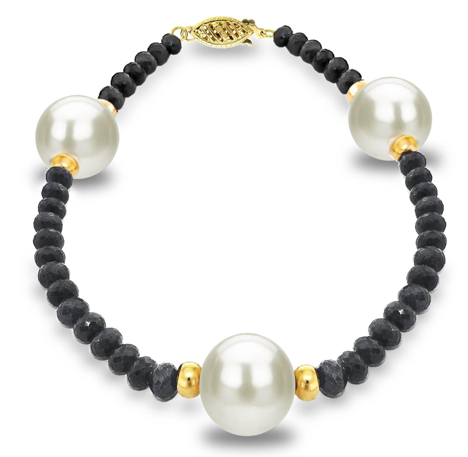 14k Yellow Gold 9-9.5mm White Freshwater Cultured Pearl 4mm Black Spinel Bracelet, 7.25''