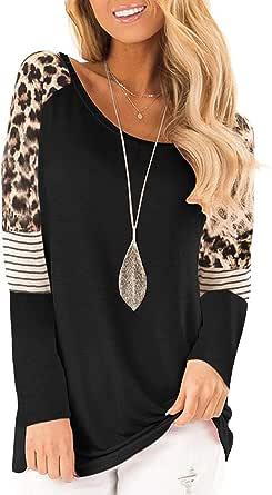 Uincloset Women's Leopard Print Color Block Long Sleeve Tunic Tops Casual Crew Neck Stripe Patchwork Tops