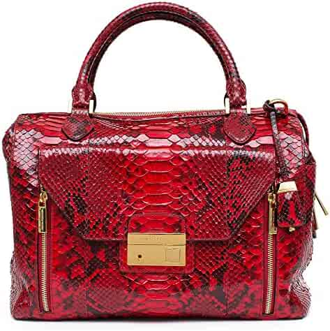 604035f0a35e54 Michael Kors Gia Crimson Large Zip Satchel Genuine Python Bag NEW
