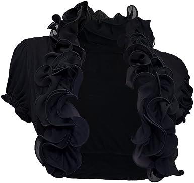 eVogues Plus size Cropped Ruffled Shawl Shrug Bolero Black