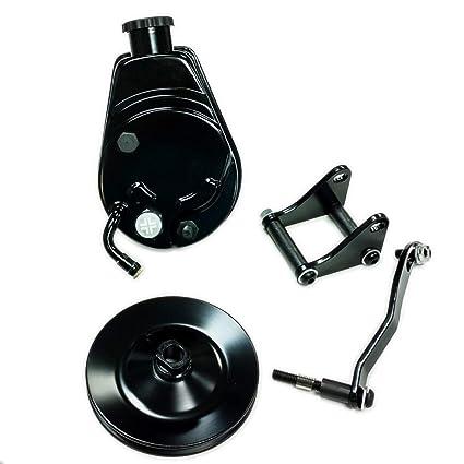 Saginaw Power Steering Pump >> Amazon Com Sbc Chevy Sb Black Saginaw Power Steering Pump W Bracket