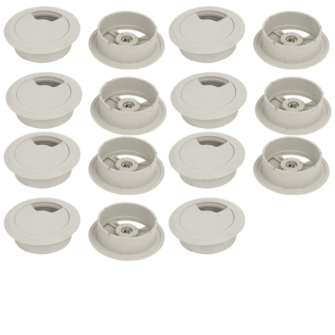 uxcell Computer Desk 60mm Dia Plastic Rotatable Grommet Cable Hole Cover Gray 15pcs
