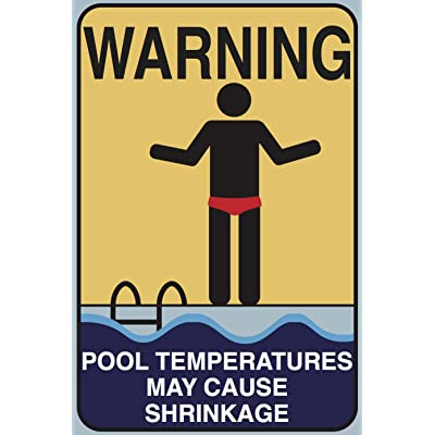 """Toothsome Studios Pool Shrinkage 12""""x8"""" Tin Funny Pool Sign Shower Sign Home Novelty Decor: Home & Kitchen"""