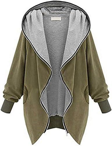 Hirolan_New Womens Zipper Hoodie Kapuzen Jacket Parka Trench Coat Windbreaker