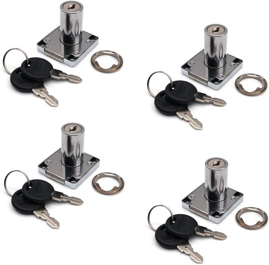 NUZAMAS - Juego de 4 cerraduras para armarios y cajones con 2 llaves, cilindro de bloqueo de muebles, aleación de zinc, para puertas de armarios, cajones, buzones de correo (32 mm)
