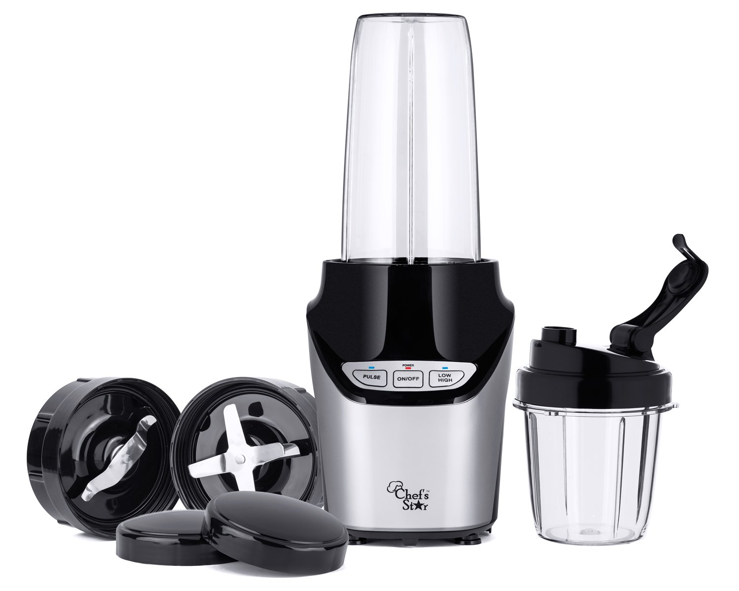 Chef's Star NE1000 Nutri Extractor - 1000W High Speed 8 Piece Personal Blender Mixer - Black