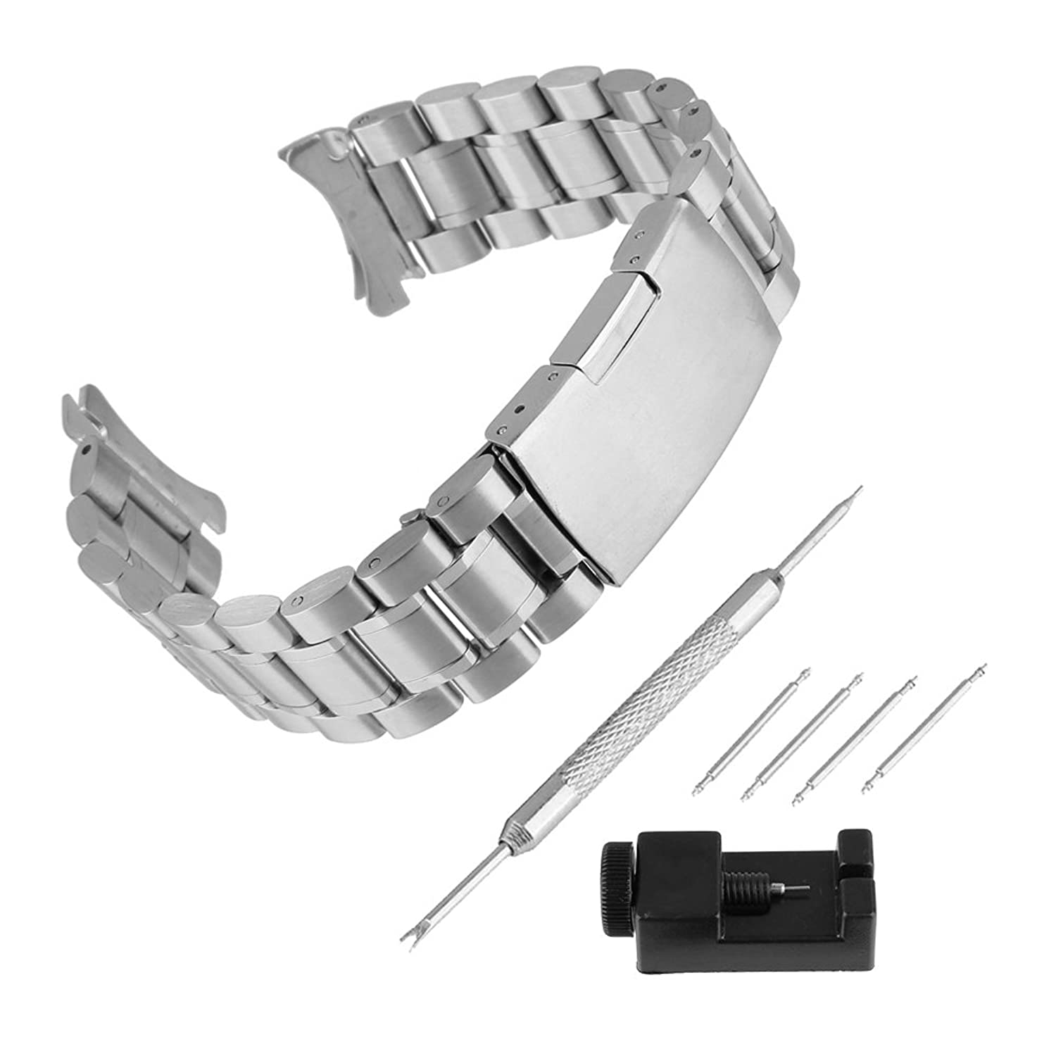 bewishシルバーユニセックスCurved End Link Watch Band Single Fold Over Clasp Fits Round Watch Casesツール 20mm シルバー 20mm   B078Z6PSX1