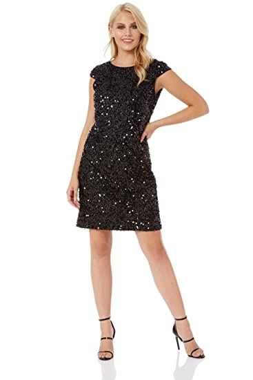 71395c540b6882 Roman Originals Womens Sequin Tinsel Shift Little Black Dress - Ladies  Christmas Party Evening Going Out 1920 Sequined Sparkle Round Neck Knee  Length Tunic ...