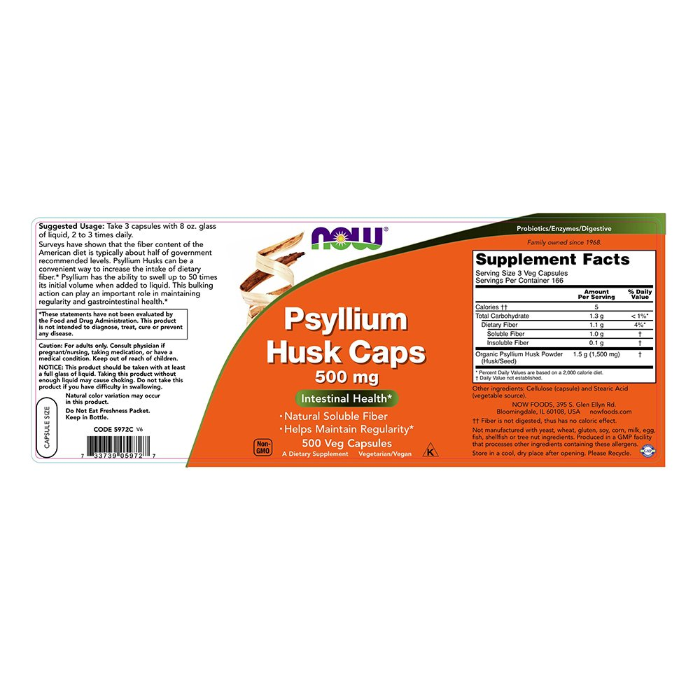 NOW Psyllium Husk 500 mg,500 Capsules by NOW Foods (Image #3)