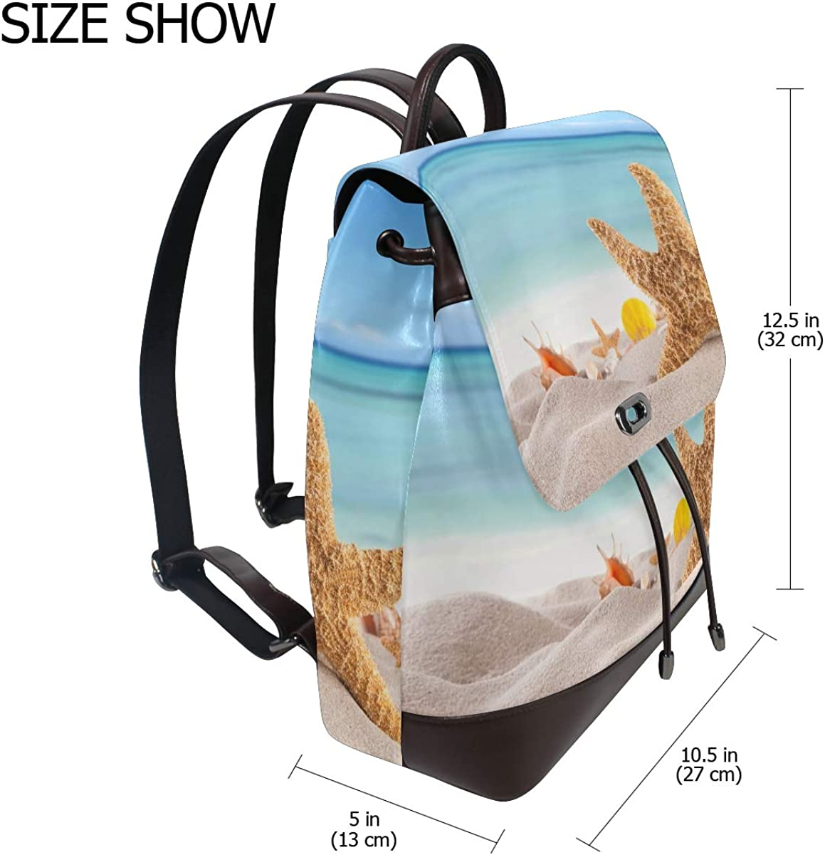 PU Leather Shoulder Bag,Sandy Summer Beach With Blur Sea Backpack,Portable Travel School Rucksack,Satchel with Top Handle