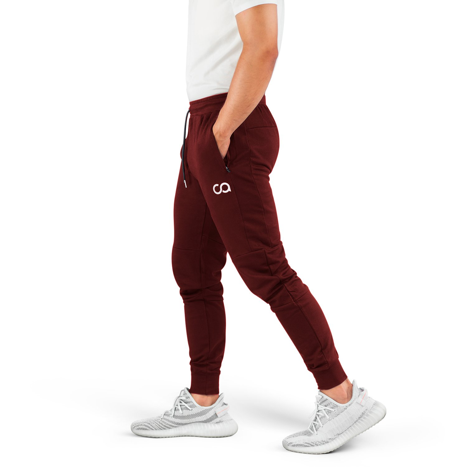 Contour Athletics Men's Joggers (Cruise) Sweatpants Men's Active Sports Running Workout Pants With Zipper Pockets (Maroon) (Large) (CA1003-LM)