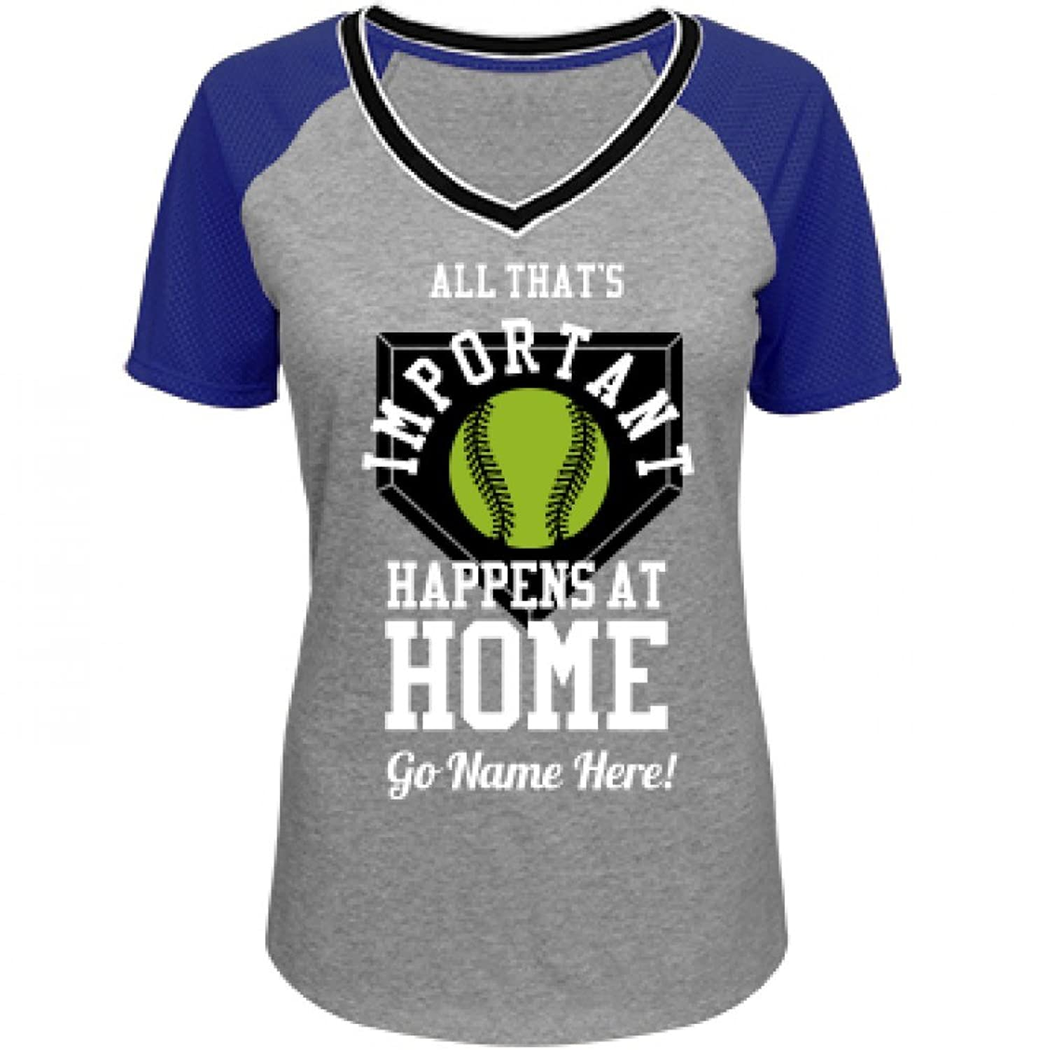 It Happens At Home Base Custom: Junior Fit District Mesh Sleeve V-Neck Tee