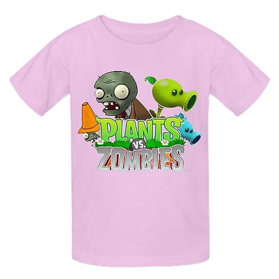 Toypop Plants Vs Zombies Kids Cotton Round Collar Tshirts Customized