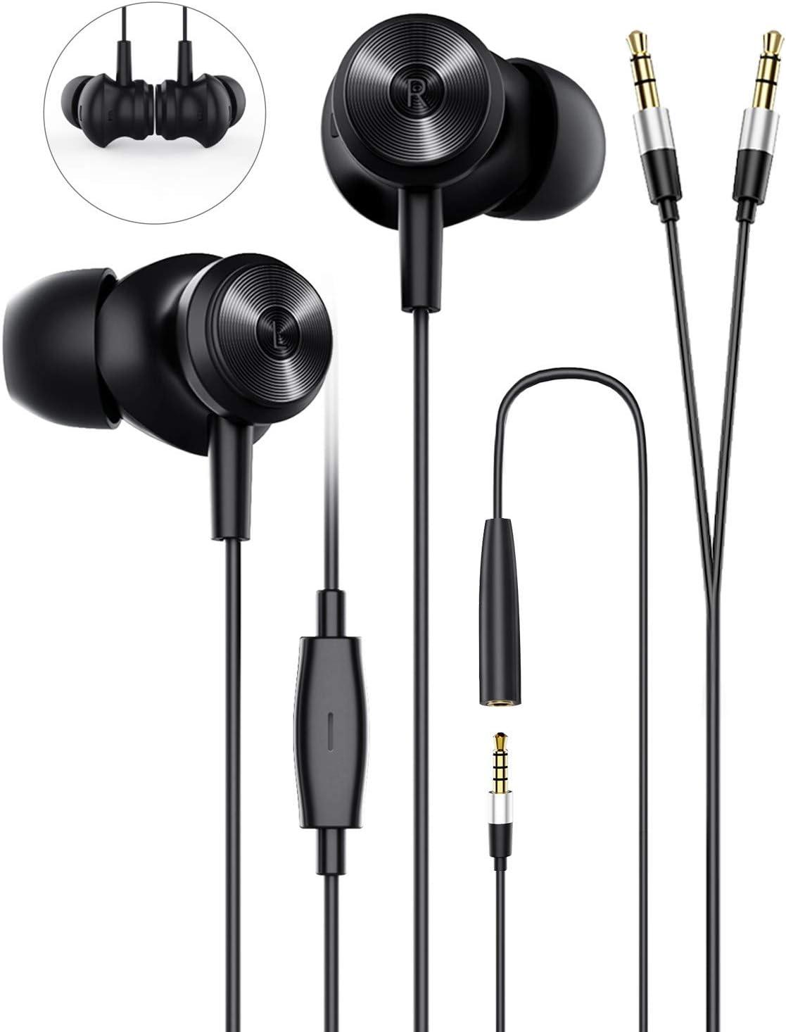 Wired Earphones Earbud Headphones with Microphone, Bluedio Li Wired Earphones in-Ear Earbuds Headphones with Extended 3.5mm Y-Splitter for PC, Laptops, Gaming, Online Meetings