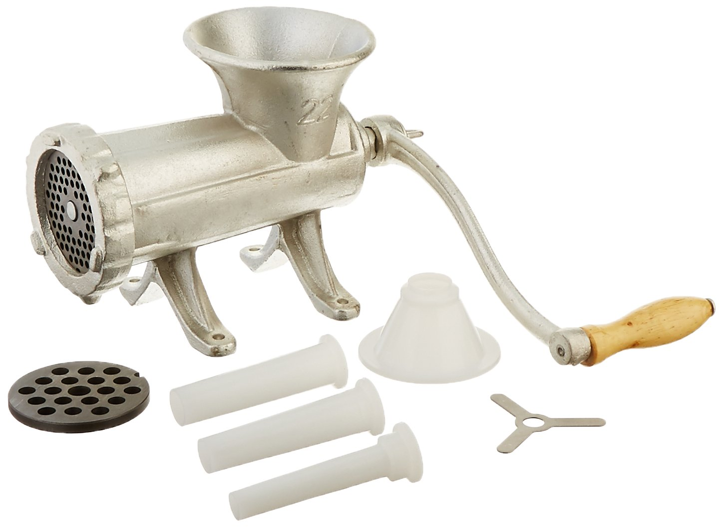 Weston #22 Manual Tinned Meat Grinder and Sausage Stuffer (36-2201-W), 2 plate sizes, +3 sausage funnels