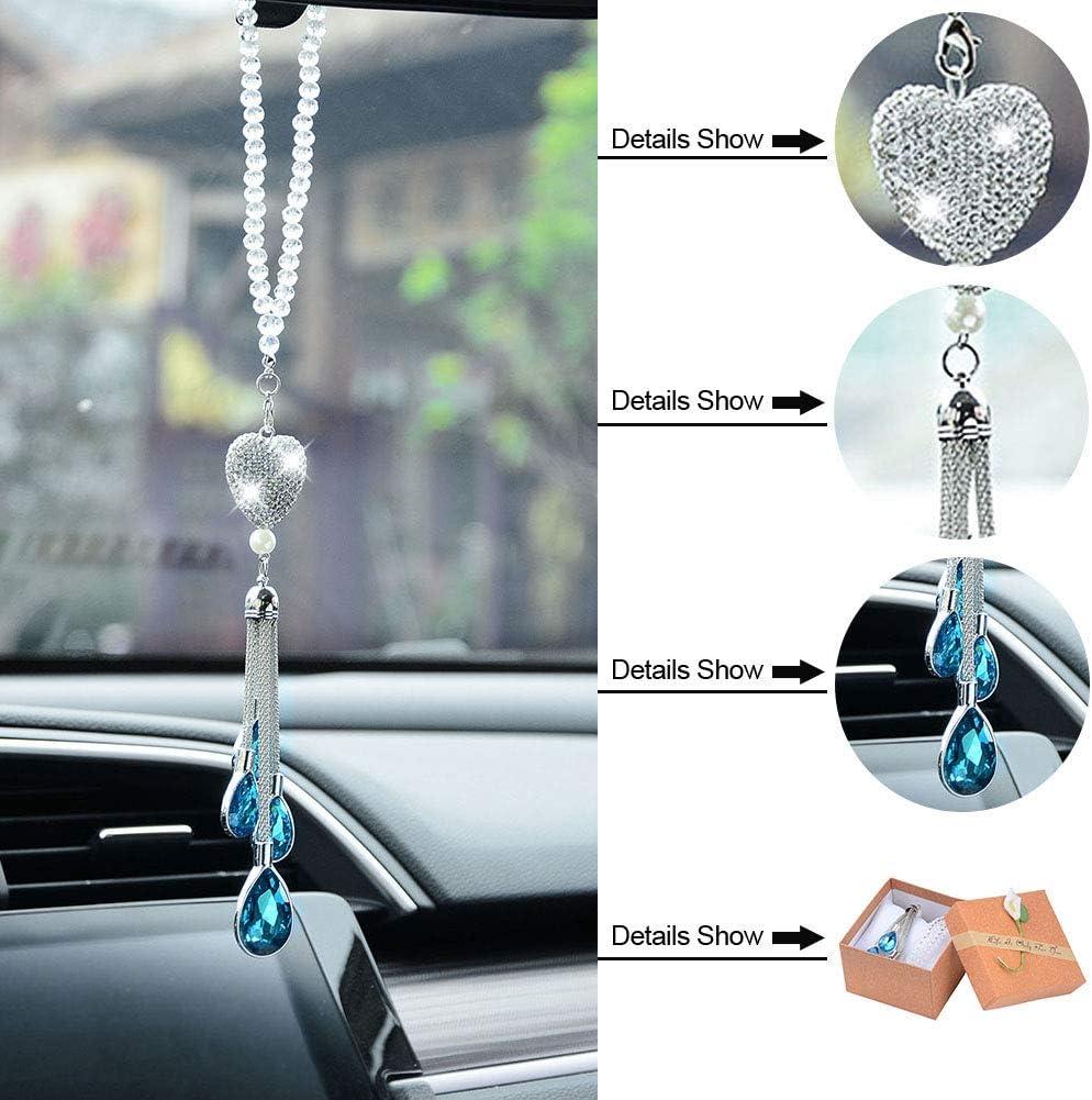 ATMOMO Bling Heart Car Charm Ornament Rear View Mirror Hanging Pendant Drop Charm Decoration Black