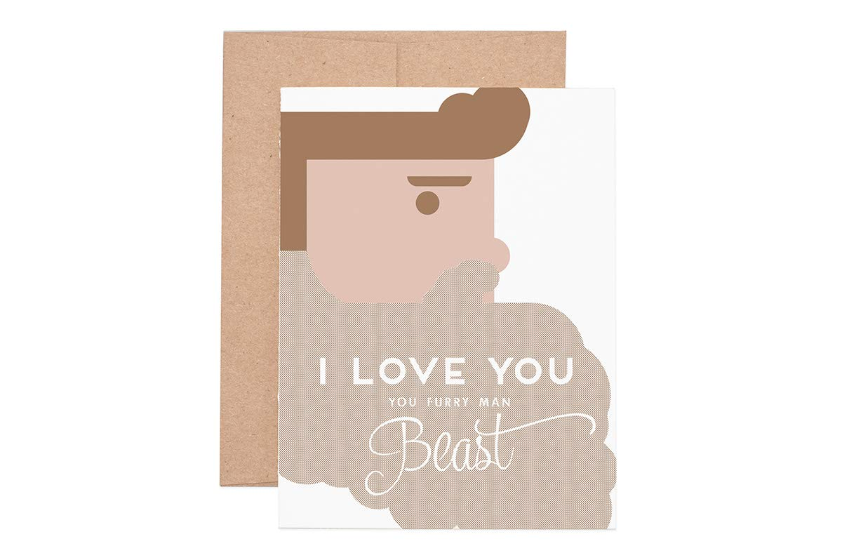 Furry Man Beast Letterpress Greeting Card