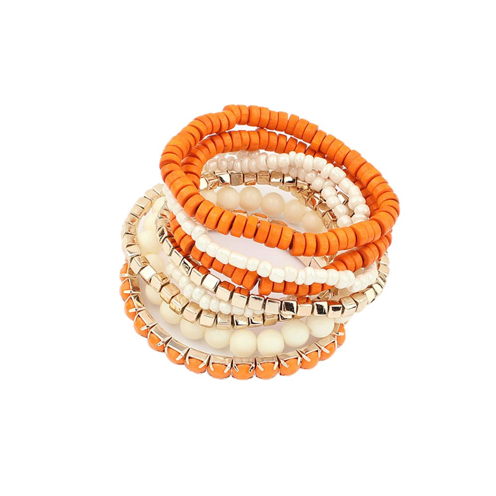 Lureme Bohemian Beads Cube Multi Strand Stretch Stackable Bangle Bracelet Set-Orange (bl003172-2)
