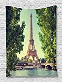 Paris Tapestry Eiffel Tower Decor by Ambesonne, Dinghies on the Seine River Trees View Print, Bedroom Living Kids Room Dorm Accessories Art Wall Hanging, 40 W x 60 L Inches, Green Blue Ecru Cream