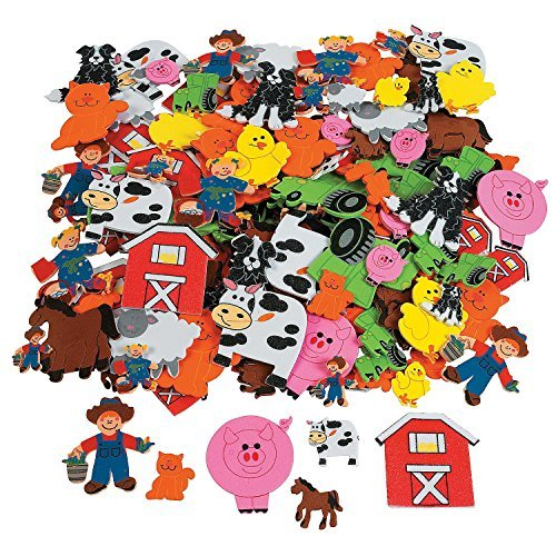 Fun Express - Foam Self-Adhesive Farm Shapes - (500 Pieces) (Farm Animals Arts And Crafts For Toddlers)