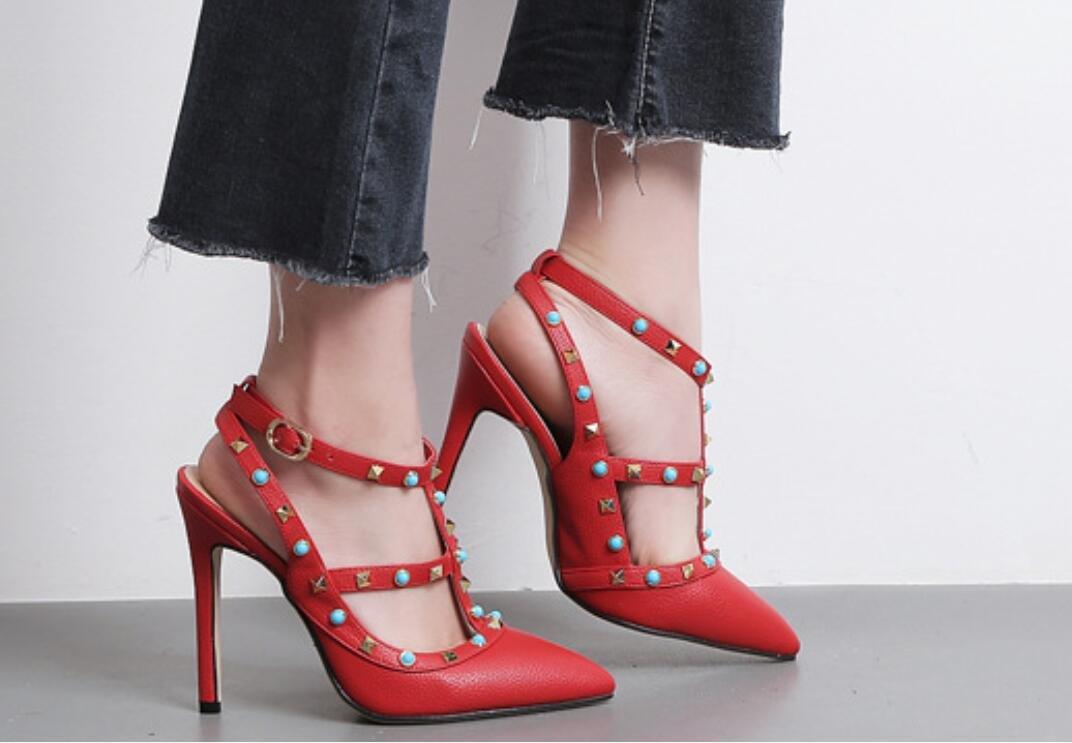 NVLXIE sandali estivi Ms. rivetti fresco scarpe col col col tacco alto benissimo con tacco alto usura fibbia sottolineato, Red, 39 97678e