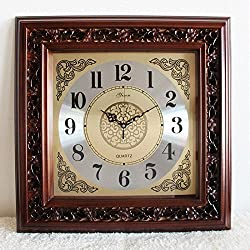 Square living room clocks antique Chinese solid wood wall clock